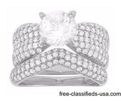 Cubic Zirconia Engagement Ring Set in Sterling Silver Size 6