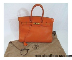 Hermes Birkin 35 cm Veau Gulliver Leather Satchel in Orange Gold Plated Fittings