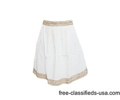 Women's Bohemian Hippie Gypsy Short White Gold Cotton Mid Length Skirt S