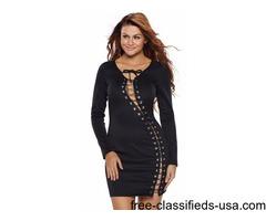 Fashion Women Black Sexy V-Neck Lace Up Long Sleeve Mini Dress