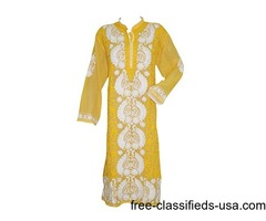 Indian Long Tunic- Yellow Floral Embroidered Georgette Hippy Dress xxL