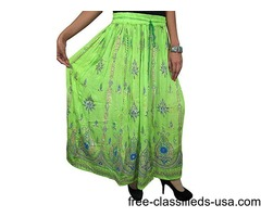 Indian Long Skirts Sequin Green Bohemian Fashion Skirt