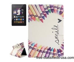 For Kindle Fire HDX Pens Patterns Flip Leather Case with Holder & Card Slots