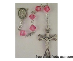 Baby Girl's Sterling Silver Rosary Kit with Swarovski crystal biconal beads