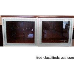 """36"""" Laminate Wall Mounted Hutch with Glass Doors"""