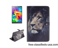 For Tab S 8.4 Lion Pattern Leather Case with Holder, Card Slots & Wallet