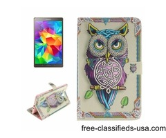 For Tab S 8.4 Owl Pattern Leather Case with Holder, Card Slots & Wallet