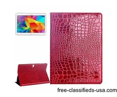 For Tab S 10.5 Red Crocodile Texture Flip Leather Case with Holder