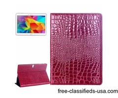 For Tab S 10.5 Magenta Crocodile Texture Flip Leather Case with Holder
