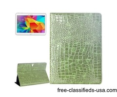 For Tab S 10.5 Green Crocodile Texture Flip Leather Case with Holder