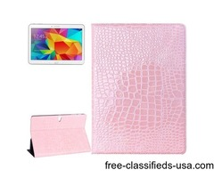 For Tab S 10.5 Pink Crocodile Texture Flip Leather Case with Holder