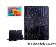 For Tab S 10.5 Black Crocodile Texture Flip Leather Case with Holder