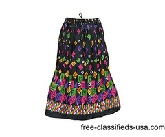 Women's Crinkle Skirt Black Printed Cotton Boho Gypsy Skirts