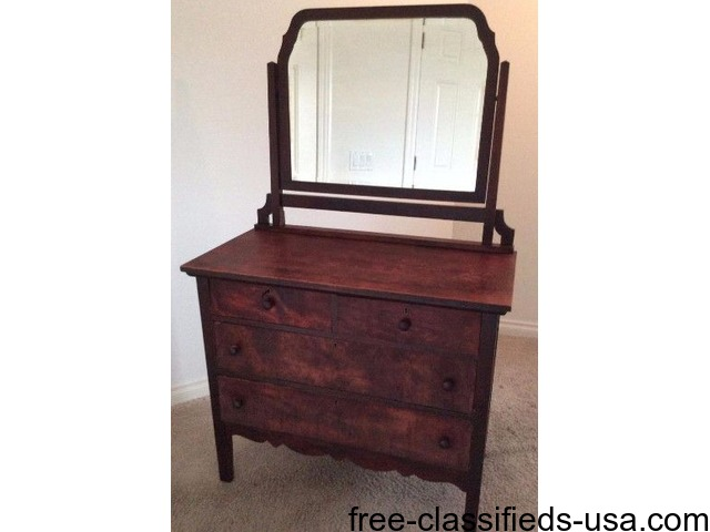 Antique Dresser Attached Swivel Mirror Wood Chest Drawers ...