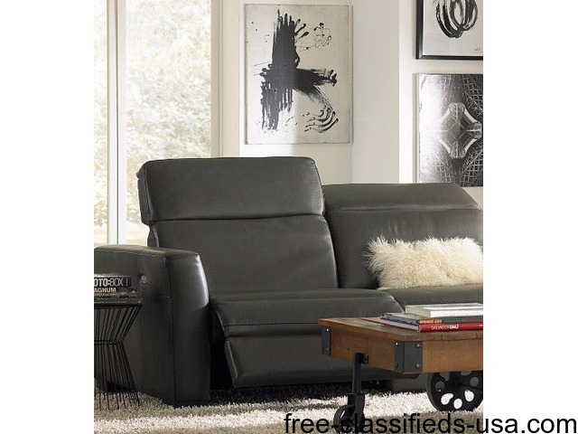 Nicolo 5 Piece Slate Gray Leather Reclining Sectional Sofa With 3