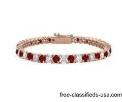 Garnet and Cubic Zirconia Tennis Bracelet in 14K Rose Gold Vermeil