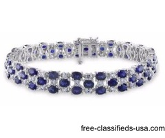Sofia B 18 1/4 CT TW Created Blue and White Sapphire Silver Bracelet