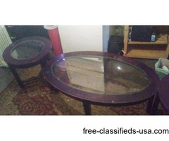Matching coffee table and end stands with glass tops
