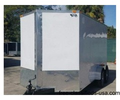 7 x 14 ft White Trike Hauler w- V-Nose Front -NEW TRAILER!