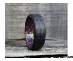 Carbon Fiber Twill Ring With Multi Colored Sparkle Inlay.