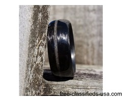 Carbon Fiber Legacy Ring with Diamond Inlay-Gloss Finish