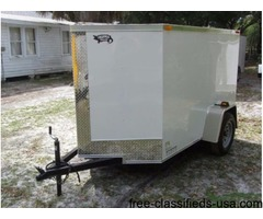 New 5 feet x8 feet ENCLOSED Trailer White Color w/V-Nose Front