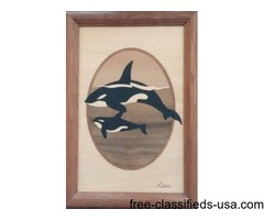 Wood Inlaid Picture of 2 Whales