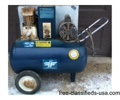 Air compressor & spray guns, sander