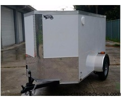 New 5x8 ENCLOSED Trailer, Sharp looking White Ext