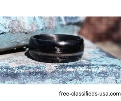 Carbon Fiber Legacy Ring with Diamond Inlay-Matte Finish