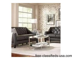 Clauida All Leather Slate/Gray Sofa $599 - Limited Supplies