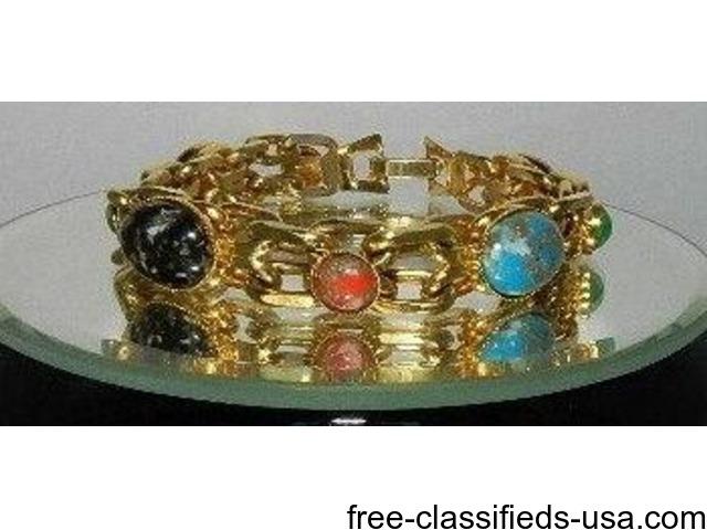Bracelet Gold Tone Multi-color 1960's 70's Costume Jewelry