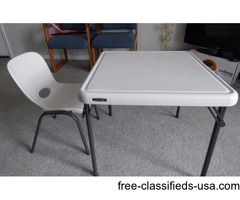 Lifetime Kids Folding Table + 1 chair, Almond for $30