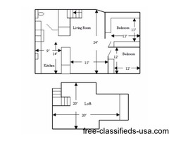 2 Bedroom with Loft Apartment for Rent