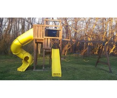 12 year old wooden 2 story playset