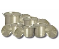 King Kooker - 5 Aluminum Pot Set with Lids and Steamer Plates