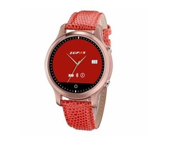 Red ZGPAX Noble S360 Bluetooth Leather Watchband Smart Watch