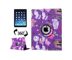 For iPad Air 2/iPad 6 Purple Eiffel Tower Pattern 360° Rotation Leather Case