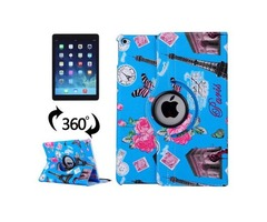For iPad Air 2/iPad 6 Blue Eiffel Tower Pattern 360° Rotation Leather Case