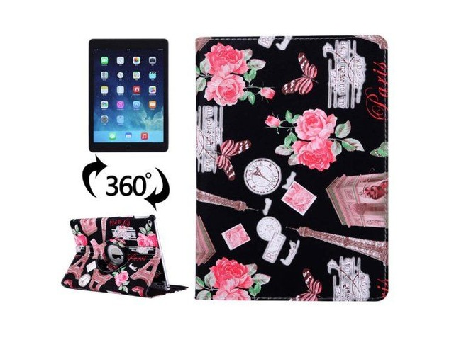 For iPad Air 2/iPad 6 Black Eiffel Tower Pattern 360° Rotation Leather Case | free-classifieds-usa.com