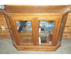 oak curio cabinets