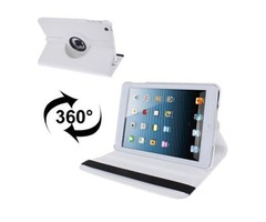 For iPad Mini 1/2/3 White 360° Rotatable Litchi Texture Leather Case with Holder