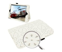For iPad Mini 1/2/3 White Diamond Palace Flower Pattern Leather Case with Holder