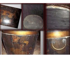 Wooden Barrel like Chest mid 1800 's hand painted orchids metal handles