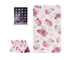 For IPad Mimi 4 Painting Rose Pattern Horizontal Flip Leather Case with Holder