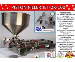 Piston Filler Double Head JET-2x100 Fills Liquids,Pastes, Scrubs, Peanut butter