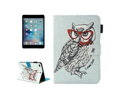 For iPad Mini 4/3/2/1 Owl Smart Cover Leather Case with Holder