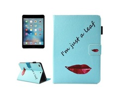 For iPad Mini 4/3/2/1 Lips Smart Cover Leather Case with Holder