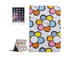 For iPad Mini 4 White Sunflower Pattern PC + PU Leather Case with Holder