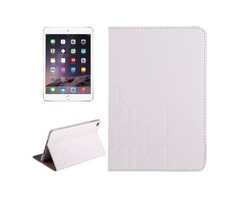 For iPad Mini 4 White Crazy Horse and Lattice Texture Leather Case